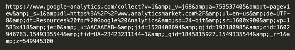 Google Analytics payload