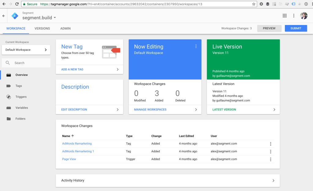 Google Tag Manager Dashboard